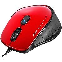 バッファロー BSMBU510MRD 有線 BlueLED 5ボタン ネオフィットマウス M レッド