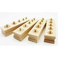 TOYBATROSS モンテッソーリ 幼児 教育 木製 知育玩具 シリンダー ブロック 4本セット
