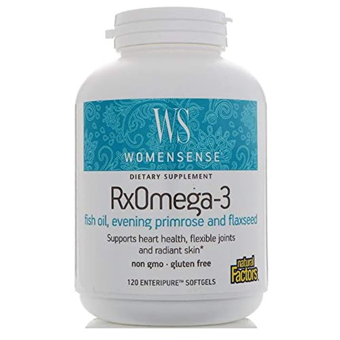 湿気の多い見物人ファセットNatural Factors Women Sense Rx オメガ 3 120 Enteripure ソフトジ ェル 【アメリカ直送】