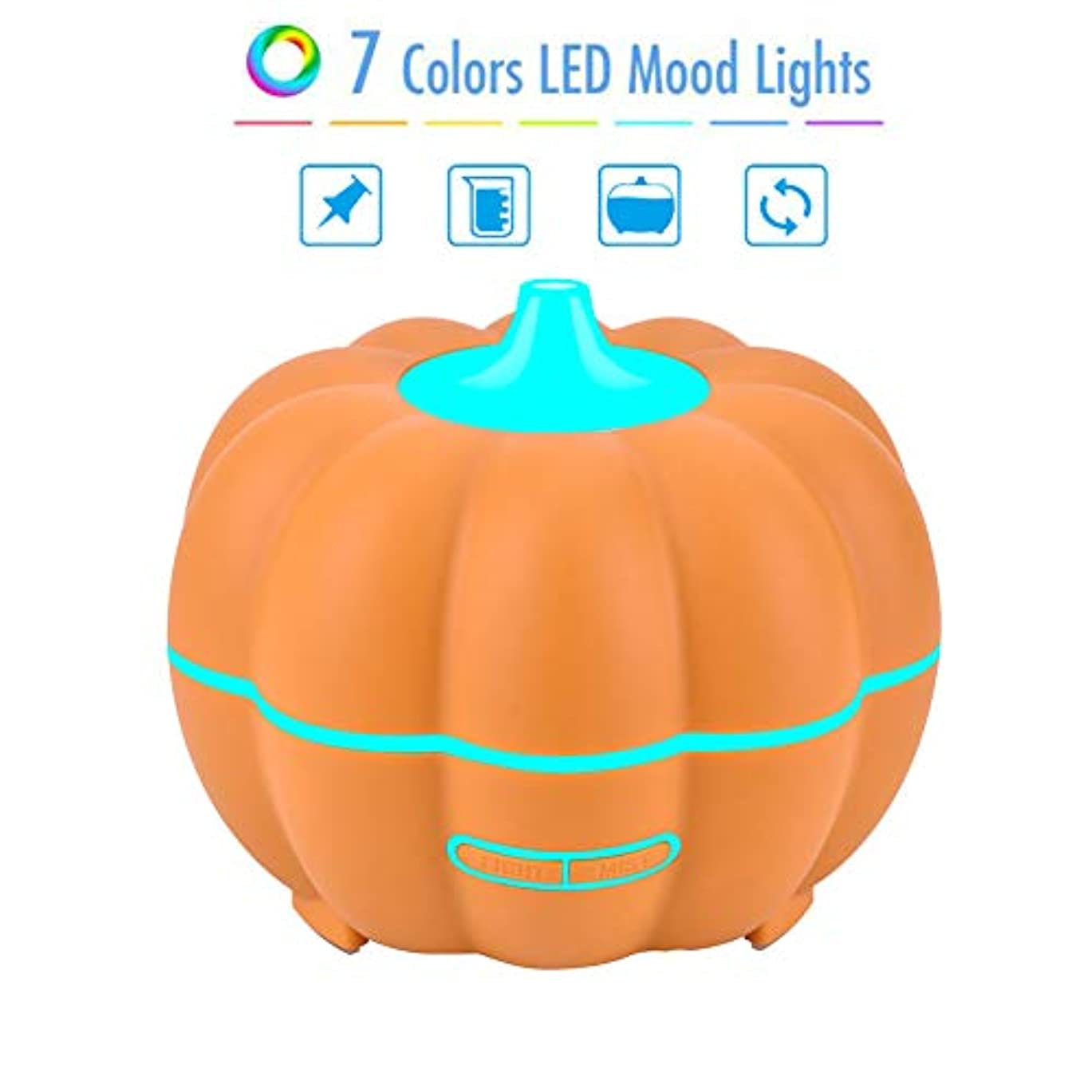 システム散歩感嘆符400ml木目エッセンシャルオイルディフューザー睡眠肌の健康のためのクールミスト付き超音波加湿器ハロウィーンカボチャデザイン,C