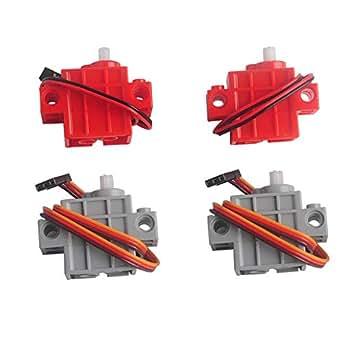 RCmall 2個270度灰色オタクサーボプログラマブルサーボ と2個赤い歯車モーター micro:bit Robotbit スマートカー 適用
