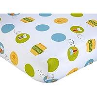 Lo美しいホワイトイエローブルーWinnie the Pooh Fittedベビーベッドシート、Disney Themed Nursery寝具、幼児子動物Bear Bumble Bee Honey Polkaドットパターンかわいい愛らしい、コットン