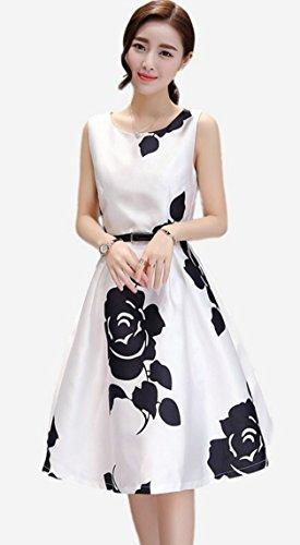 (モモチ)momotiキュンと一目惚れ上質花柄レディースドレスワンピースAラインノースリーブベルト付き(S,白)