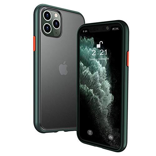 iPhone11Pro ケース スマホケース アイフォン11Pro カバー オシャレ 滑り&指紋防止 半透明 耐衝撃 マット加工 C5 グリーン(iPhone11Pro対応)【5.8inch】