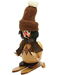 Alexander Taron 35-791 Christian Ulbricht Incense Burner - Skier with Fuzzy Hat in a Natural Wood Finish