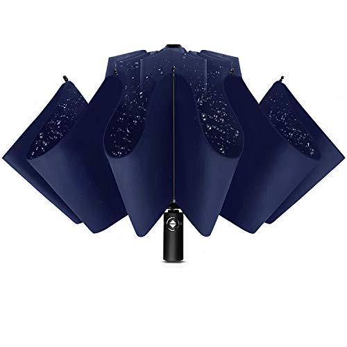 Wsky 折りたたみ傘 逆折り式 自動開閉 10本骨 逆さ傘 風に強い 梅雨対策 晴雨兼用 おりたたみ傘 メンズ 収納ポーチ付き (ブルー)