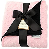 MEG Original Minky Dot Baby Girl Blanket, Ballet Pink & Black by MEG Original [並行輸入品]