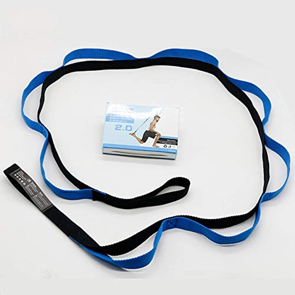 段階派手鯨フィットネスエクササイズジムヨガストレッチアウトストラップ弾性ベルトウエストレッグアームエクステンションストラップベルトスポーツユニセックストレーニングベルトバンド - ブルー&ブラック