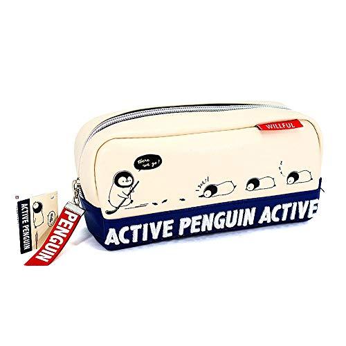 筆箱 ペンケース 女の子 ボックス タイプ アクティブ な ペンギン (Active Penguin) ツインファスナー 小学...