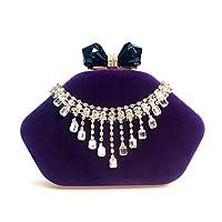 Wsw 高級ダイヤモンドを散りばめたタッセルベルベット宴会クラッチウェディングドレス花嫁のドレスイブニングバッグチェーンチェーンショルダー吊り手バッグ用女性 快適でスタイリッシュ (色 : Purple)