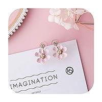 トレンディな日本の韓国の女の子かわいいイヤリングシンプルなピンクの甘い生地の花のイヤリング,Style-16