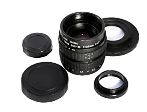 【Nikon1 ニコン1 ボディ(J1、J2、J3、S1、V1、V2)用セット】 FUJIAN 35mm F/1.7 CCTV Cマウントレンズ + Cマウントレンズマウントアダプター (Nikon1ボディ用) + マクロ撮影用アダプター