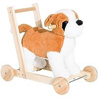 Kid Ride On Plush Dog 3-in - 1デザイン、スライドウォーカー、およびプッシュカートW / 32 Nursery Songs with eBook