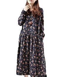 [アルジェント アパ] バルーン ワンピース 花柄 夏 秋 体型カバー ロング丈 ゆったり 楽ちん 長袖 紫外線対策 総柄 3色選べる