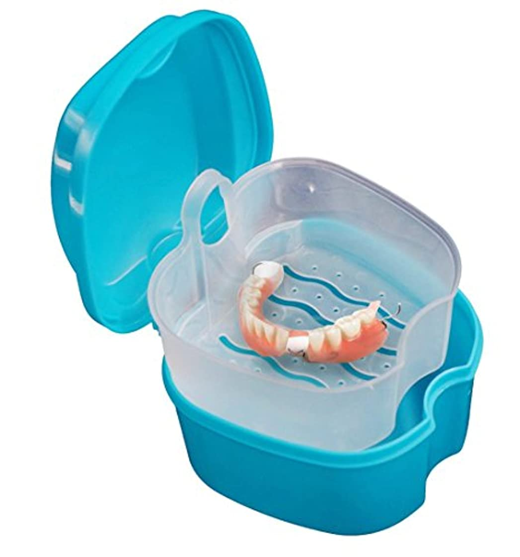 つぶすうぬぼれ超えるinverlee False Teethストレージボックス、入れ歯Bathボックスケース歯科False Teethストレージボックスwith Hanging Netコンテナ
