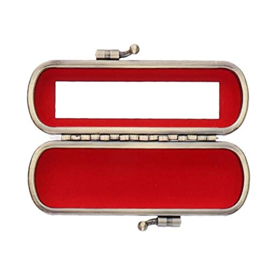 機械的散髪ダイヤル財布用ミラーオーガナイザーバッグ付きかわいいレザーリップスティックリップクリームケース - 赤