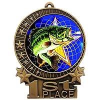 Express Medals 3インチ 釣り用 1位 メダル ゴールド 赤 白 & 青 ネックリボン 賞 トロフィー XMD