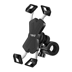 自転車 スマホ ホルダー Tiakia オートバイ バイク スマートフォン 振れ止め 脱落防止 GPSナビ 携帯 固定用 マウント スタンド 防水 に適用 iPhone X XS 8 7 6 6S Plus/HUWEI Mate P20 P10 lite/Xperia android 多機種対応 360度回転 脱着簡単 ステンレス鋼伸縮アーム 優れた耐久性 強力な保護 (ブラック)