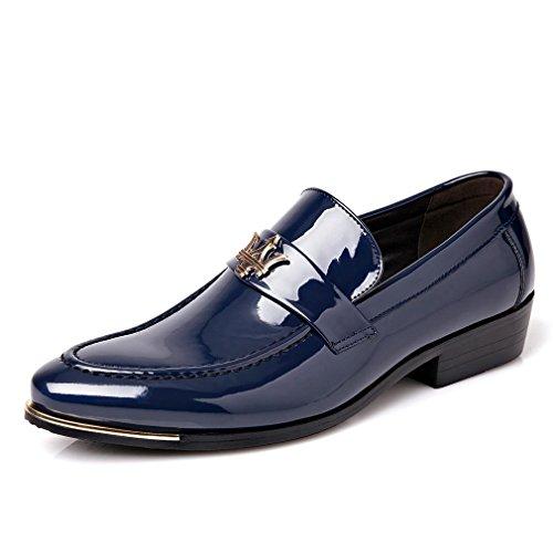 [QIFENGDIANZI]ビジネスシューズ メンズ ウェスタン おしゃれ  紳士靴 抗菌 防臭 コンフォート 履き心地よい 男性用 フラットシューズ パーティー 通勤 結婚式 ブルー 26.5cm