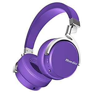 Bluedio Vinyl Stereo Rotary On-ear Bluetooth ヘッドホン ワイヤレスヘッドセット マイク付き (パープル)