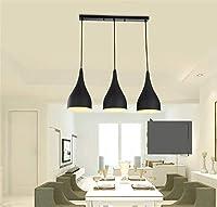 3セットシャンデリアペンダントライトペンダントランプ黒E27ランプシェードキッチンリビングルーム天井吊りランプ(タイプ)