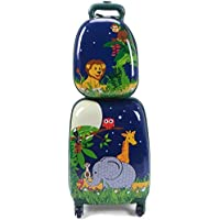 "C-Xka 2Pcs Kids Luggage, 16"" Carry On Luggage & 12"" Backpack, Kids Carry On Spinner Luggage Set, Rolling Trolley Suitcase for Boys and Girls Travel Suitcases"