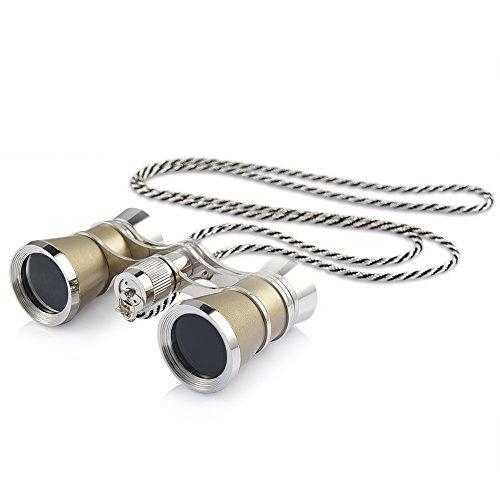 Runacc オペラグラス 小型 軽量 双眼鏡 3倍 25口径 3X25 アンティーク様式 銀色のネックレスチェーン付き ゴールド