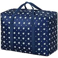 大規模なオックスフォード布の収納袋ブルースターパターン防水防湿折り畳み旅行オーガナイザーポータブル荷物ワードローブ服仕上げ整理キルト羽毛移動保管袋 (サイズ さいず : 58 * 28 * 45cm)