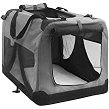 Large Portable Soft Pet Dog Crate Cage Kennel Grey