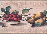 York 壁紙ボーダー - 梨チェリーストロベリーベージュウォールボーダーレトロなデザイン、Prepastedロール15フィート。 X 9で。