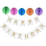 誕生日 飾り付けセット ペーパーポンポン バースデー カラーペーパーハニカムボール パーティー デコレーション ペーパーフラワー 装飾 (ホワイト)