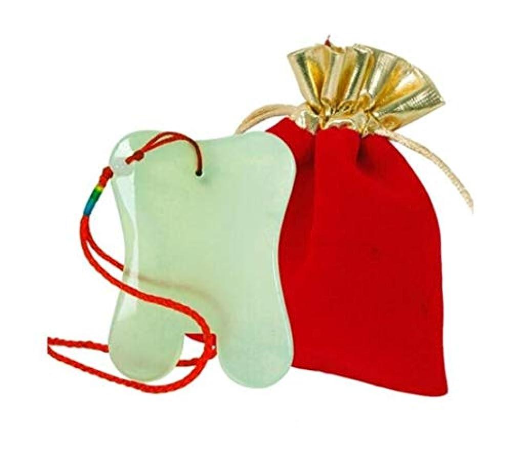 休日に唯一縫うKATH スクラッチマッサージツール、理学療法Guashaマッサージツールのジェイドスクレイピングボード?フェイシャル目のシェービング、グリーンボード圧着+布バッグ+レッドロープ (Color : Green, Size...