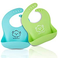 KeaBabies Silicone Baby Bibs Easy Clean - Waterproof Bibs For Boys & Girls - Food Catcher