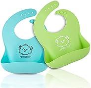 KeaBabies Silicone Baby Bibs Easy Clean - Waterproof Bibs For Boys & Girls - Food Cat