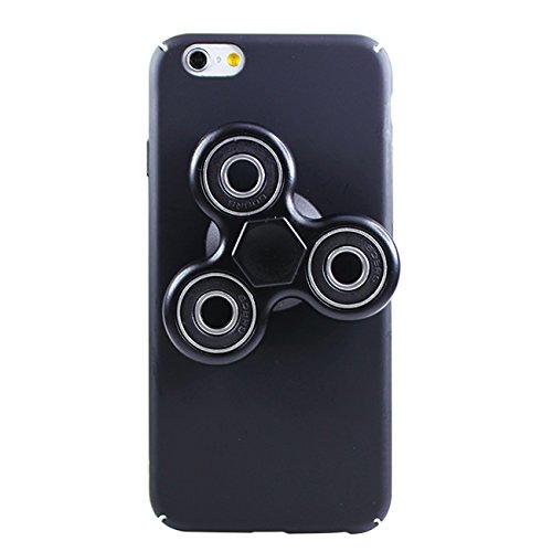 iPhone8 ケース iPhone7 ケース ハンドスピナー付き ハードケース ブラック(ブラック) ケースに貼り付け! 取り外しも可能