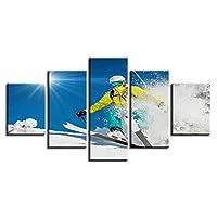 LJFYXZ 壁飾りアートパネル スケートボード 背景の装飾 スキーポスター 家庭 ジム 5パネル HDペインティング 防水は衰退しません (枠なし) (色 : B, サイズ さいず : 25x50cm)