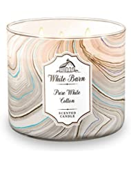 Bath and Body Worksホワイトバーン3 Wick Scented Candle Pureホワイトコットン14.5オンス