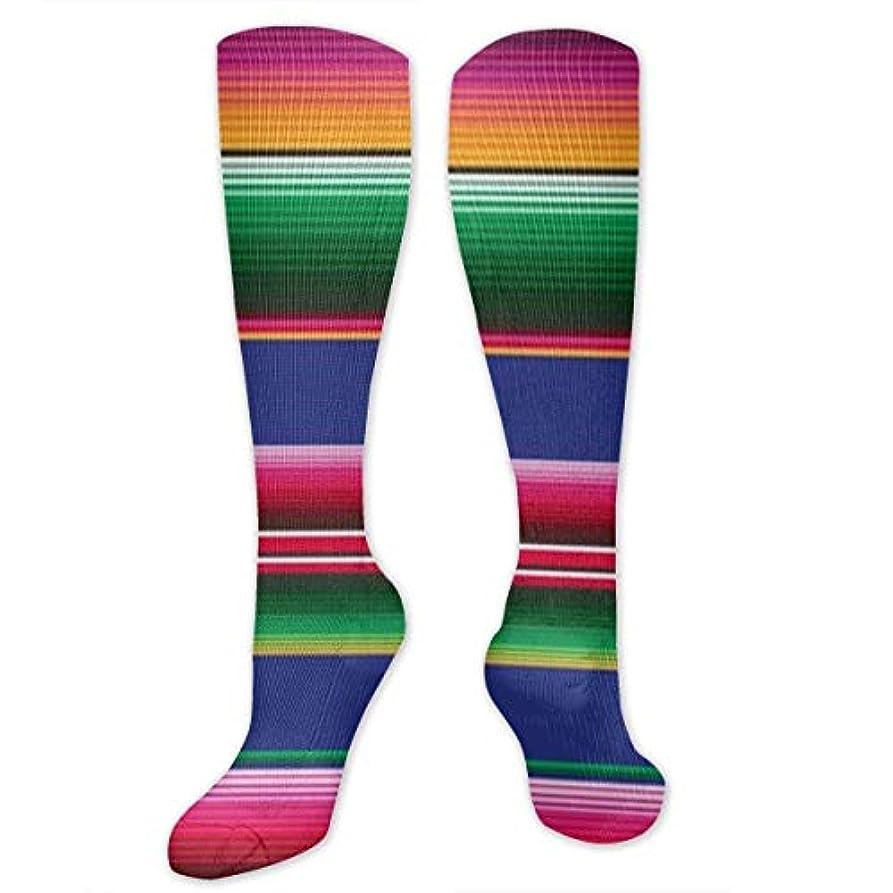 樫の木社交的平和的qrriyメキシコブランケットストライプ- 3 D抗菌アスレチックソックス圧縮靴下クルーソックスロングスポーツ膝ハイソックス少年少女キッズ幼児