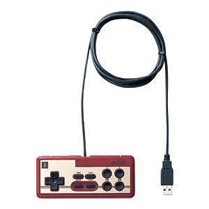 USB接続 8ボタンゲームパッド デジタル 連射機能付 ファミコン風 レッド