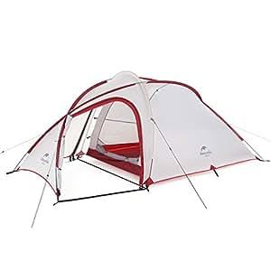 Naturehike公式ショップ テント 自立式 2-3人用 2ルーム 超軽量 広い前室 タープスペース付き 二重層構造 アウトドア キャンプ 登山 防雨 防風 防災(専用グランドシート付) (グレーのアップグレード版)