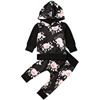 Toddler Infant Baby Boys Girls Floral Sweatshirt Outfit Long Sleeve Tops and Pants Fall Winter Clothes