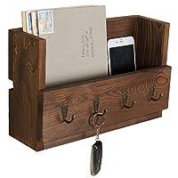 MyGift 4-Hook Rustic Wood Wall-Mounted Key & Letter Organizer Rack [並行輸入品]