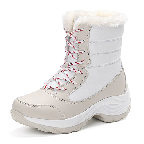 レディース スノーブーツ レインブーツ スキーブーツ スノーシューズ 防寒 保温 ホワイト 22.5cm
