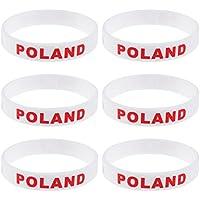 BESTONZON リストバンド シリコンブレスレット シリコンバンド 2018年 ワールドカップ スポーツ サッカー ポーランド応援 ポーランド国旗 応援グッズ 6個