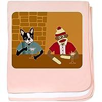 CafePress – ボストンテリアSock Monkey幼児毛布 – スーパーソフトベビー毛布、新生児おくるみ ピンク 04720827256832E