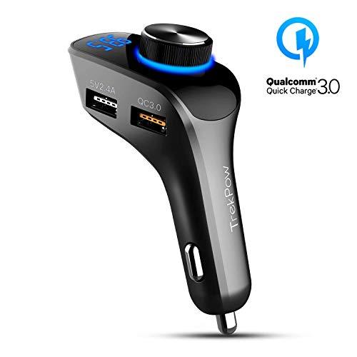 Trekpow FMトランスミッター 【最新型】Bluetooth 4.2ワイヤレス発信機 高音質 (ATSチップ搭載) ハンズフリー通話CVCノイズ軽減 三つUSBポート(QC3.0急速充電/2.4A両面挿入USBポート/ USBメモリ対応) MP3プレーヤーTFカードUSBメモリに対応 AUX端子出力 ワンボタンコントロール 操作簡単 iPhone/Android 12ー24V車対応/F10/24ヶ月保証
