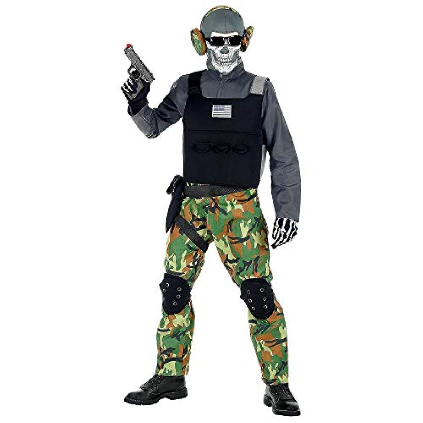 明るくする切り刻むラジエーターワイドマン00128子供用スケルトン兵士コスチュームボーイズブラック/グリーン158 cm
