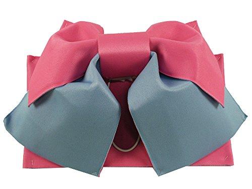 女性用 浴衣帯 作り帯 結び帯 (ピンクとライトブルー)