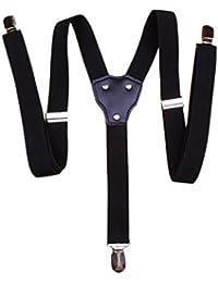 Jelinda(JP) ® サスペンダー 吊りバンド ガーターベルト Y型 2.5cm 革つなぎ 3クリップ 3点留め 弾性 ボストン クリップ 金具 男女兼用 ブラック