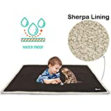 (Brown/Tuape) - Waterproof Dog Blanket,Premium Pet Puppy Cat Fleece Sherpa Throws Cushion Mat for Car Seat Furniture Protector Cover Small 130cm x 80cm by Pawsse